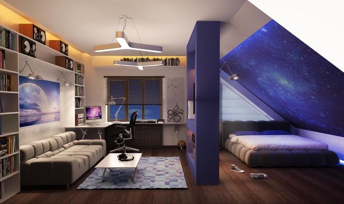 Правильное разделение общего пространства подростковой комнаты на функциональные зоны.