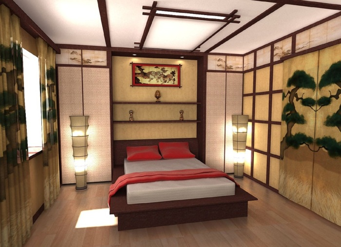 Спальная комната, оформленная в современном восточном стиле.