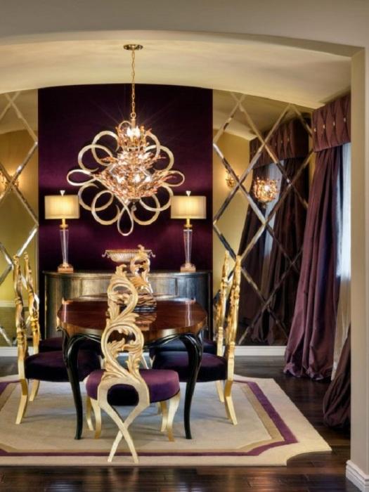 Элитная мебель в золотом цвете для гостиной комнаты.