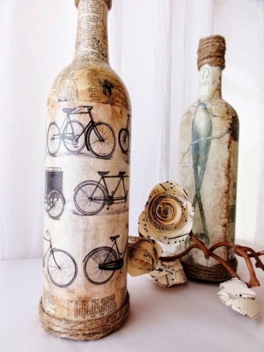 Креативный декупаж бутылки в Винтажном стиле.