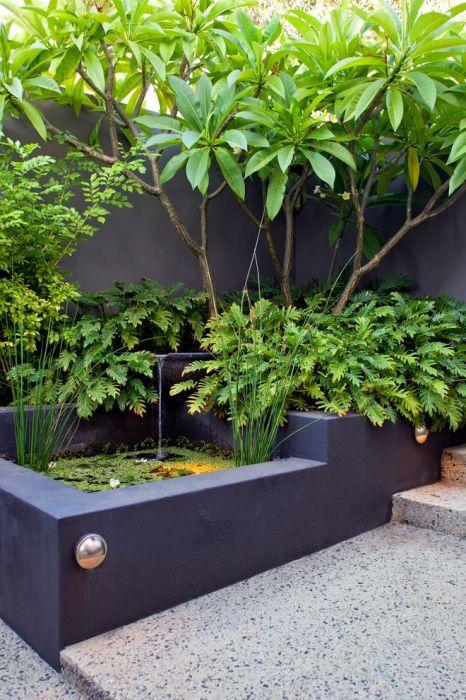 Маленький искусственный водоем с высокими бетонными бортами, покрашенными в тёмный оттенок, станет идеальным решением для современного загородного участка.