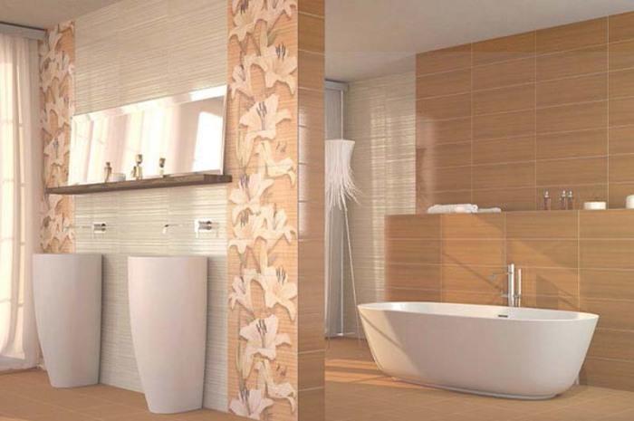 Оформление интерьера ванной комнаты в бежевом цвете считается классикой, в которой отсутствуют яркие элементы.