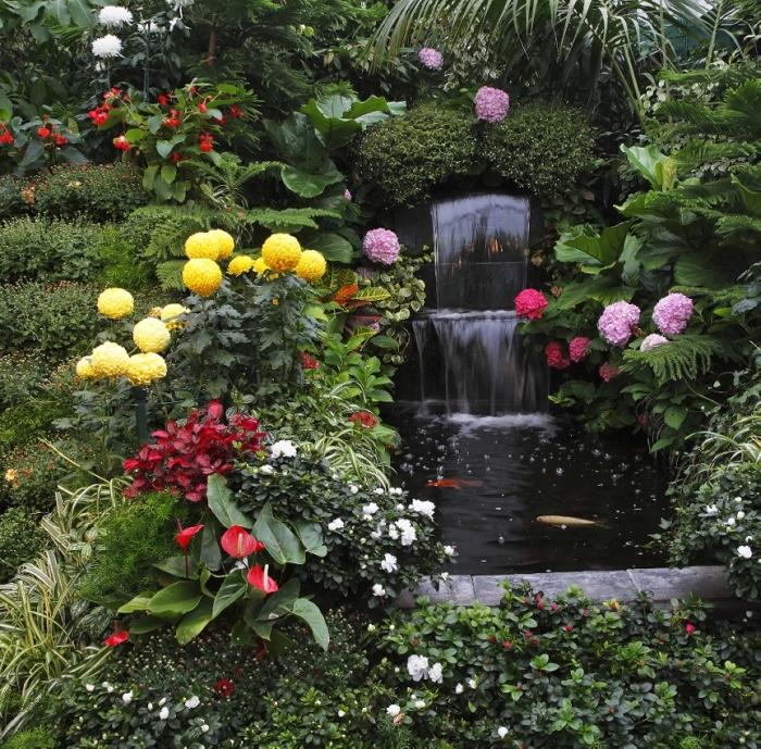 Классический дизайн фонтана, который окружен разными сортами цветов и растений.