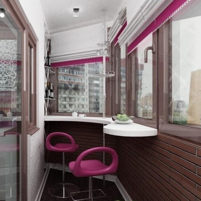 Дизайн маленького балкона с барной стойкой.