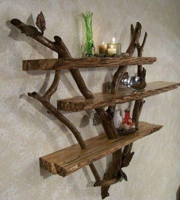 Необычные полки для дома, которые можно сделать своими руками из коряг.