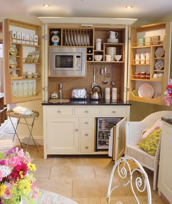 Идеальный вариант зонирования пространства на кухне.