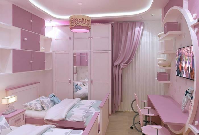 Ультрасовременный интерьер детской комнаты в розовых тонах.