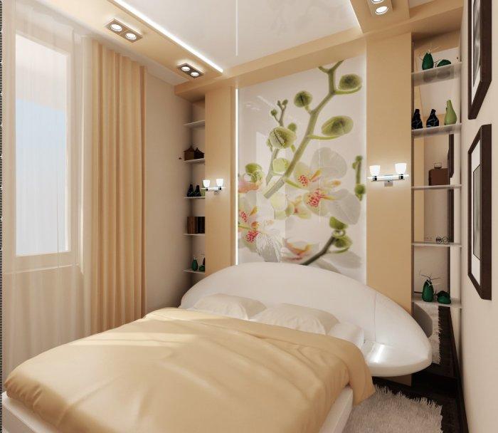 Бежевый цвет в интерьере спальной комнаты способен внести свежесть и уют.