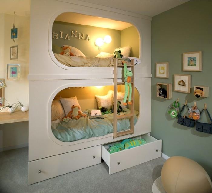 Универсальная двухэтажная кровать с подсветкой и встроенными шкафчиками.