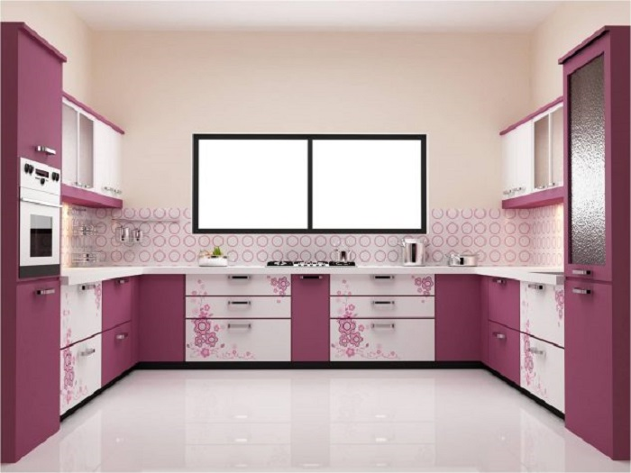 Яркий розовый цвет - отличное и неординарное решение для кухни.