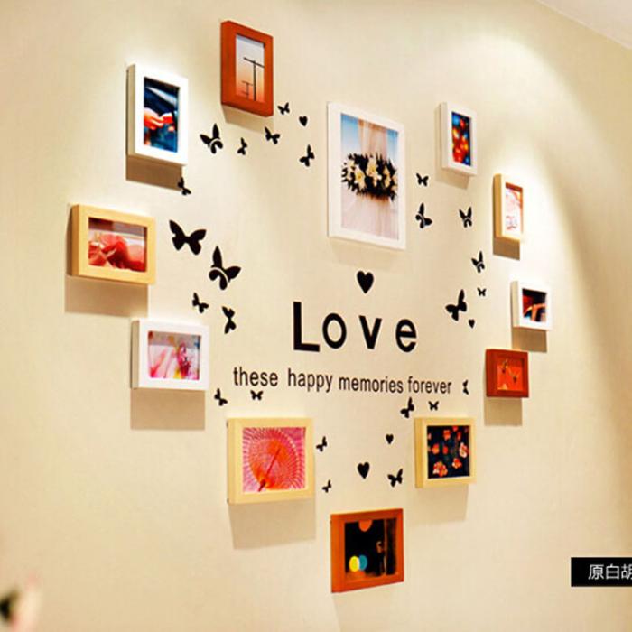 Красивая настенная галерея в форме сердца для спальной комнаты.