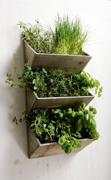 Выращивать небольшие комнатные растения очень удобно на небольшом вертикальном стеллаже из натуральной древесины.