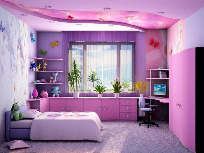 Детская комната в фиолетовых тонах придаст интерьеру изюминку и необычный вид.