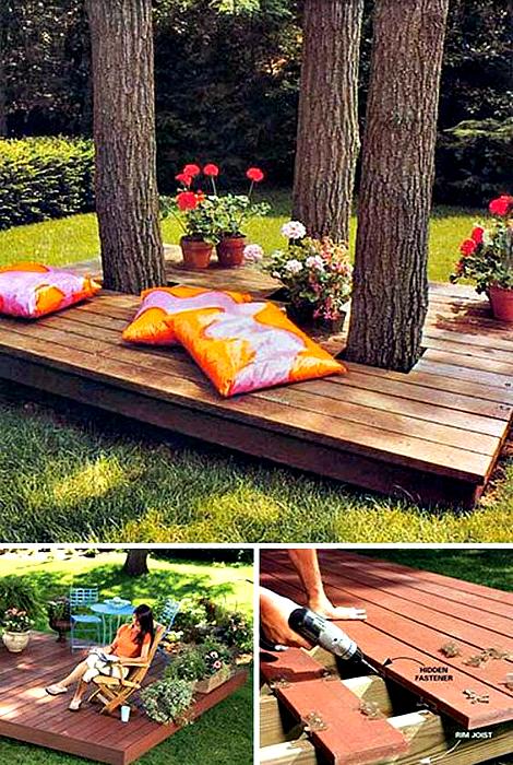 Настоящие умельцы могут соорудить стильную площадку для отдыха из деревянных балок и досок в тени деревьев.