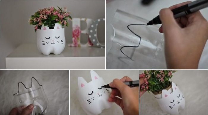 Небольшое кашпо с милым рисунком, которое можно создать своими руками.