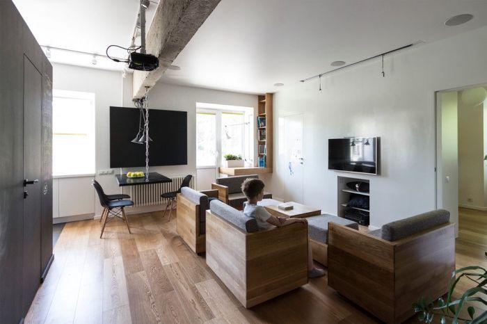Модульная мягкая мебель, которую очень легко перемещать и создавать из неё необычные композиции.