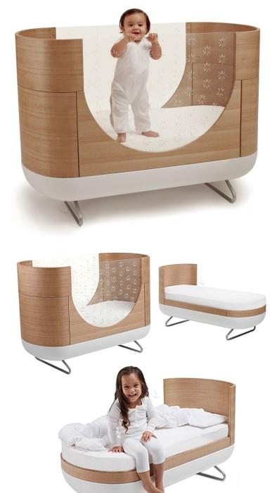 Детская кровать-трансформер, которая позволит преобразовать кровать практически для любого возраста.