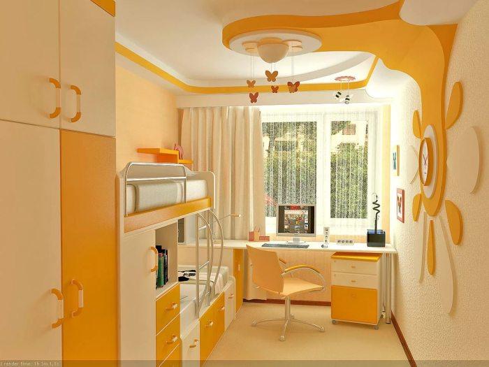 Необычная детская комната в оранжевых и пастельных тонах.
