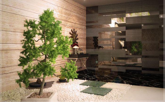 Яркий пример оформления интерьера искусственными деревьями и цветами.
