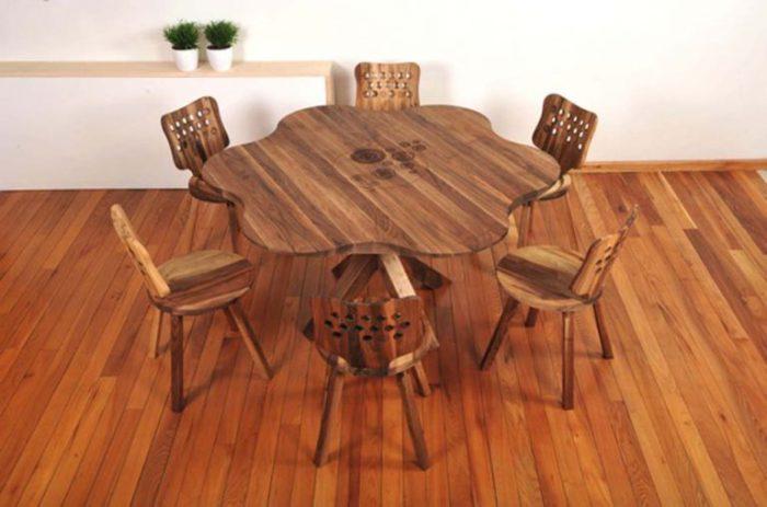 Дизайн обеденных столов из дерева.