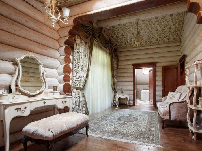Интерьер деревянного дома в классическом стиле кантри.