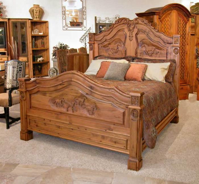 Деревянный дизайн интерьера спальни.