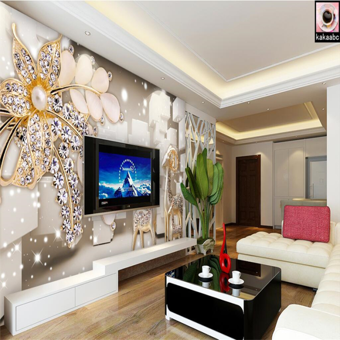 Обои с цветочным принтом гармонично вписывающиеся в интерьер гостиной комнаты.