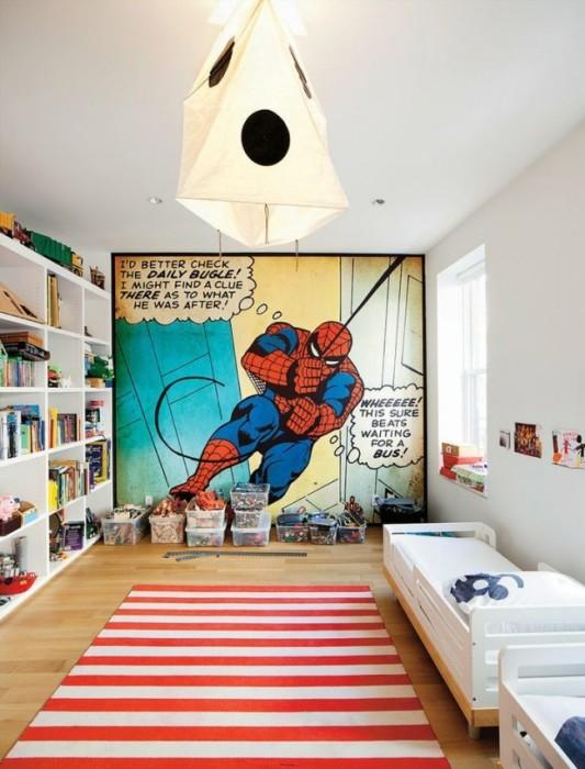 Фотообои с героем комиксов в белом скандинавском интерьере небольшой спальной комнаты.