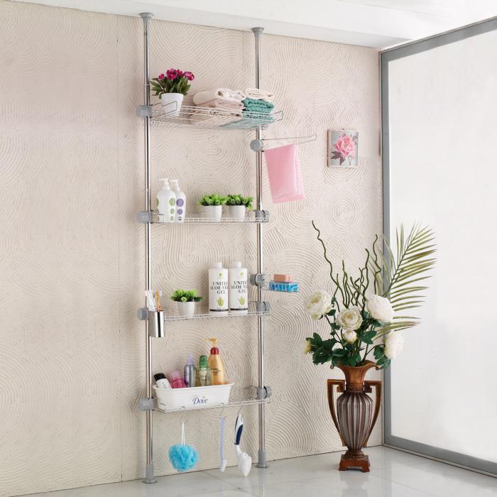 Металлический стеллаж для банных принадлежностей, который отлично впишется в любой интерьер ванной комнаты.