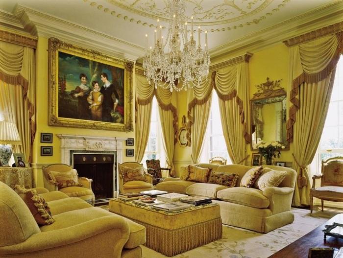 Позолоченные элементы в дополнении к стильному дизайн-проекту гостиной комнаты.