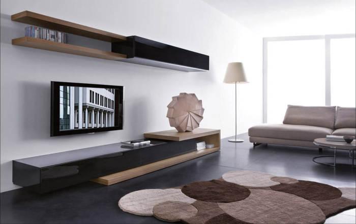 Зона для просмотра телевизора в которой нет ничего лишнего.