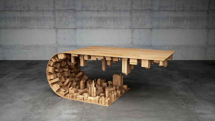Оригинальный дизайнерский столик от Mousarris в стиле неореализма.