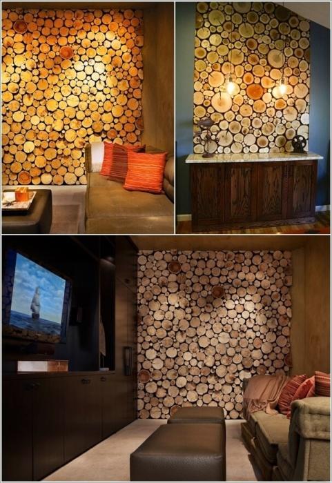 Спилы из разных пород древесины часто используются для украшения стен.