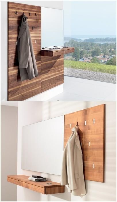 Натуральная древесина может стать отличным основанием для настенных вешалок.