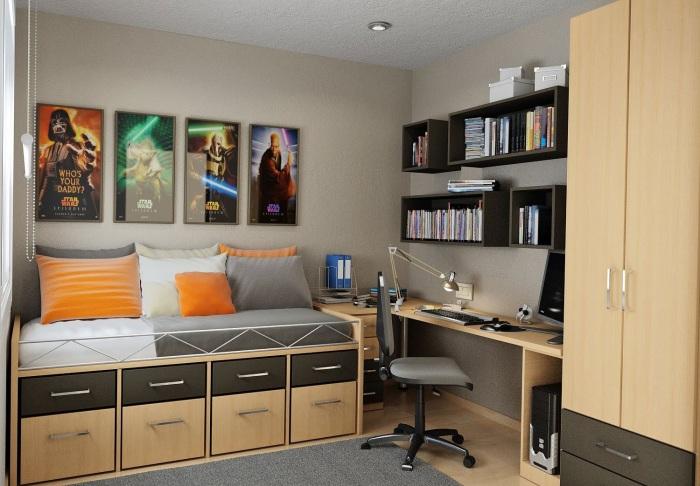 Классический стиль в типичном интерьере спальной комнате для мальчиков, который выражается в просторе и уюте.