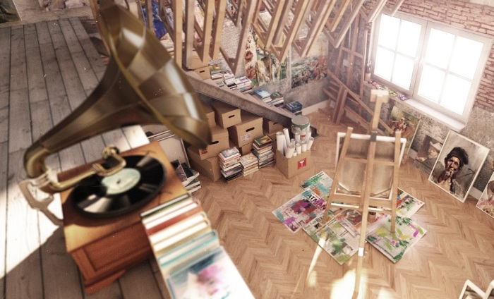 Двухъярусная мастерская для настоящих художников.