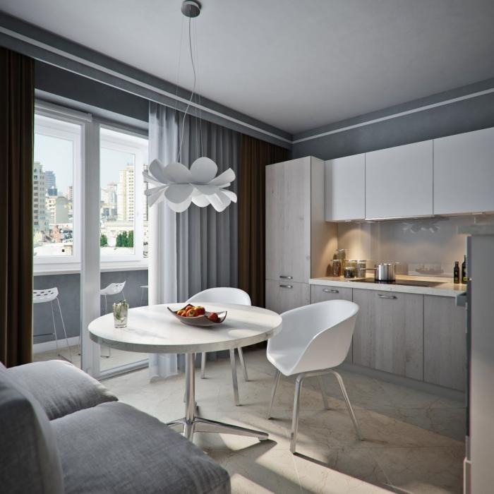 Серый цвет, доминирующий в кухонном помещении.