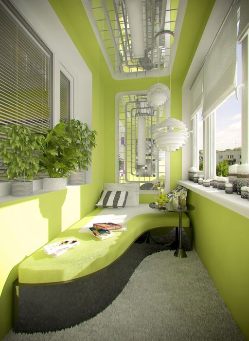 Балкон салатового оттенка станет уголком воссоединения с природой.