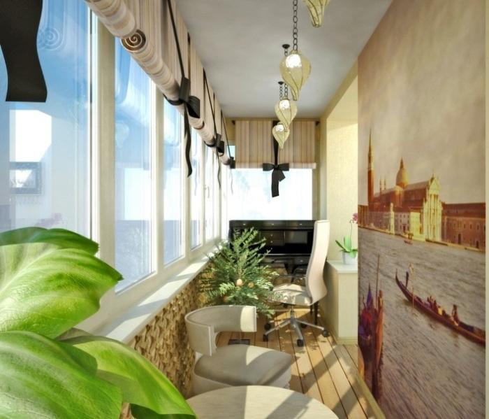 Простые, но правильные дизайнерские решения добавляют интерьеру балкона изюминку и уникальный стиль.