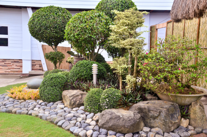 Обыкновенные камни, крупные валуны и пышные растения прекрасно подойдут для оформления ландшафтного дизайна.