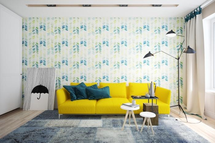 Жёлто-зелёный интерьер создаёт расслабляющую, полную свежести атмосферу в гостиной комнате.