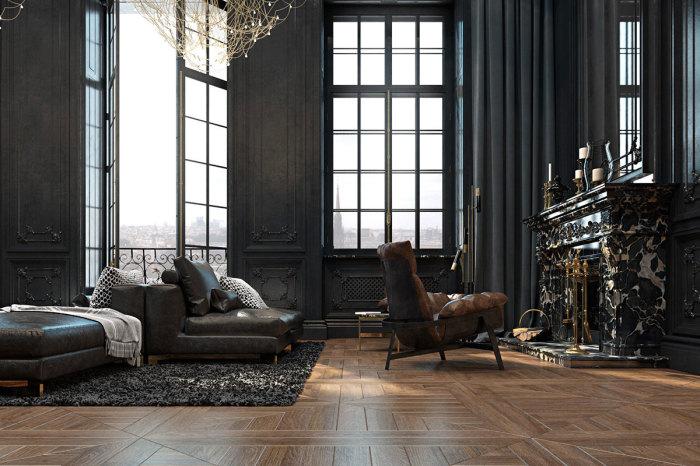 Классические апартаменты в темных тонах с огромным камином.
