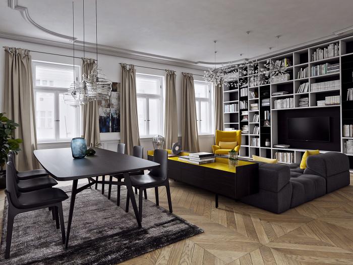 Жёлтый отлично сочетается с другими цветами и оттенками, что придаёт гостиной комнате гармонию и уют.