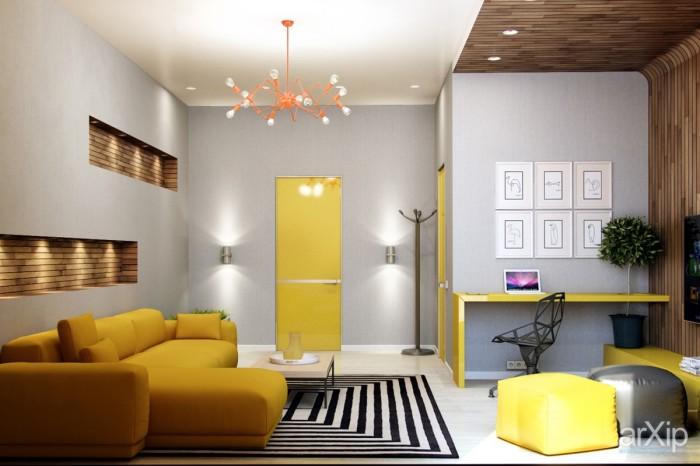 Потрясающий интерьер гостиной комнаты с жёлтым диваном.