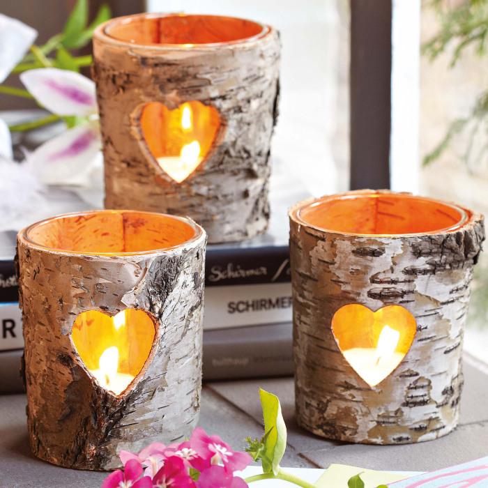 Романтические подсвечники из березовой коры, сделанные своими руками.