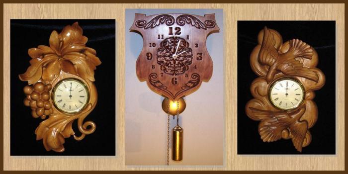 Механические деревянные часы станут ярким украшением для любой комнаты.