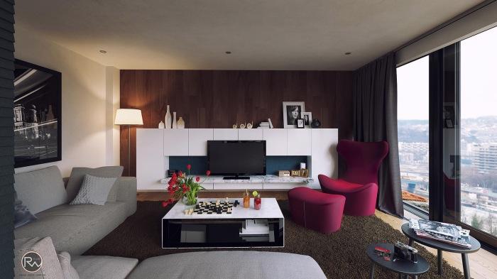 Креативное оформление современной гостиной комнаты, в которой можно позволить себе расслабится и отдохнуть.
