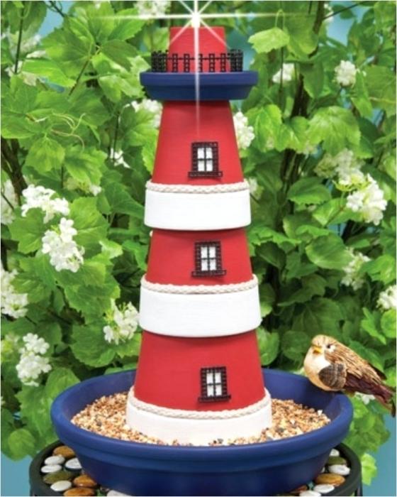 Декоративный горшок в виде оригинальной подставки для игрушечного маяка.