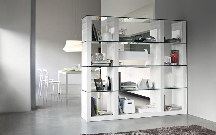 Гостиная комната и кухня, оформленная в светлых нейтральных оттенках, разделенная стеллажом, который отлично вписывается в интерьер помещений.