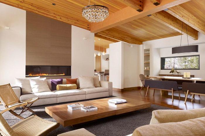 Интересный акцент представляют собой множество деревянных элементов, которые добавляют интерьеру тепла и уюта.